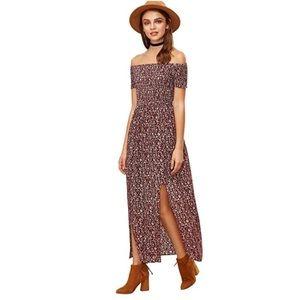 Off shoulder wine colors floral dress